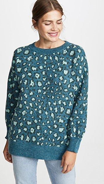 Green Leopard Knit Sweater