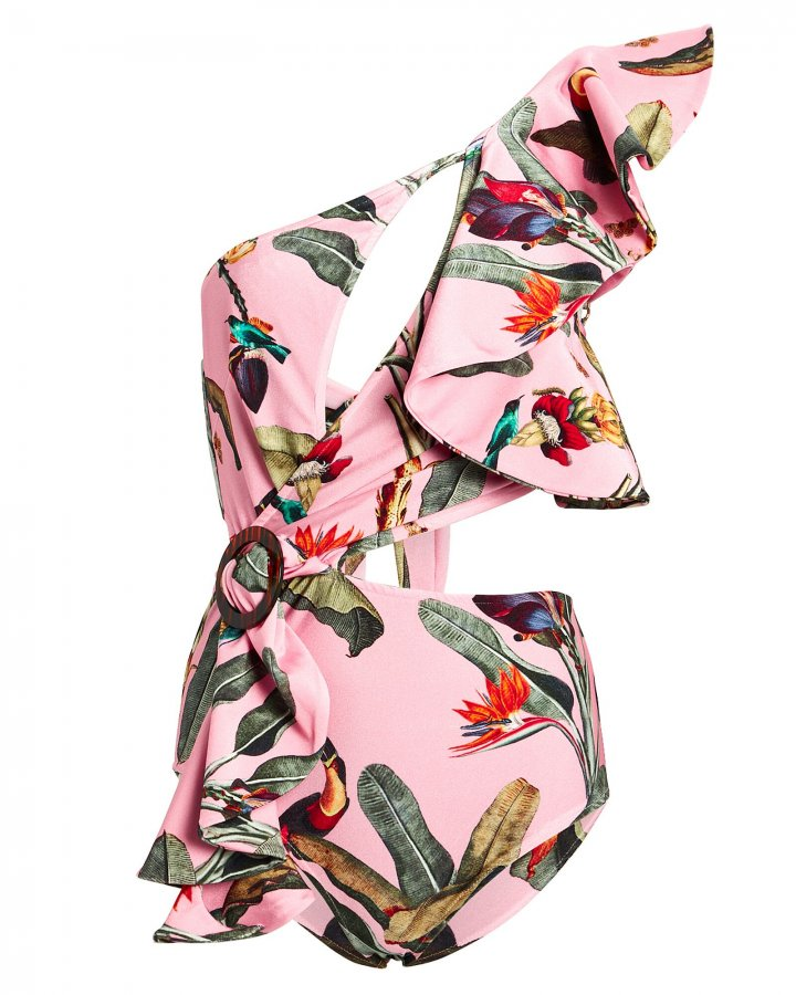 Tropical One-Shoulder Swimsuit