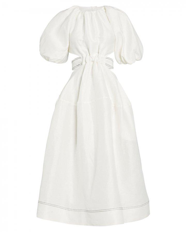 Puff Sleeve Cut-Out Dress