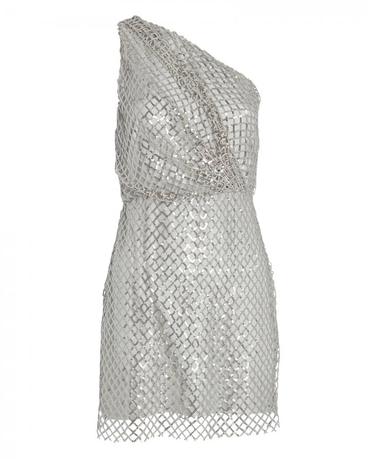 Sequined Netting One-Shoulder Dress