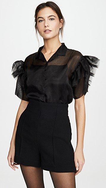 Organza Shirt with Ruffled Short Sleeves