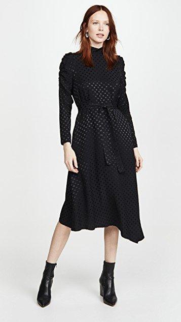 Black Long Sleeve Dot Dress
