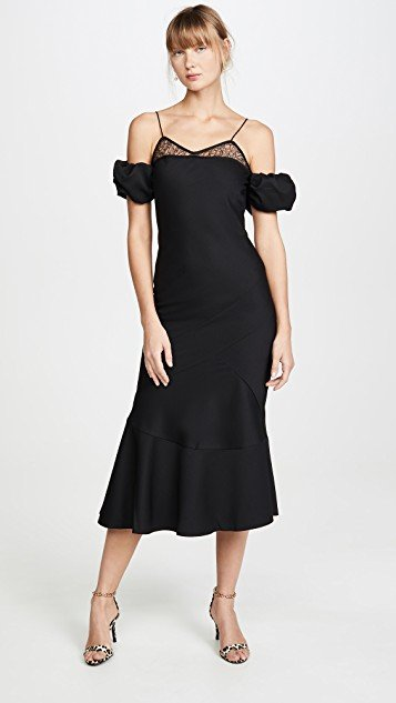Black Lace & Wool Midi Dress with Puff Sleeves
