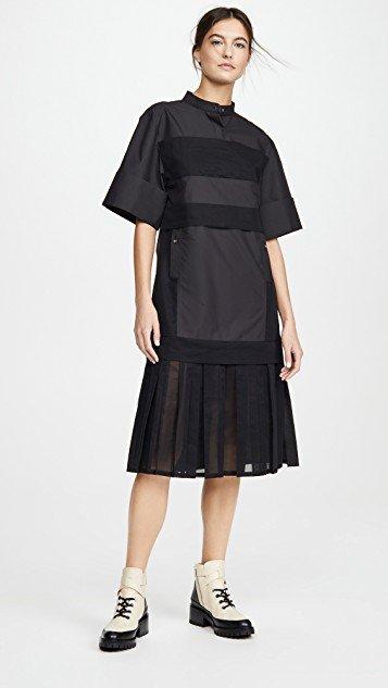 Multimedia Dress with Pleated Hem