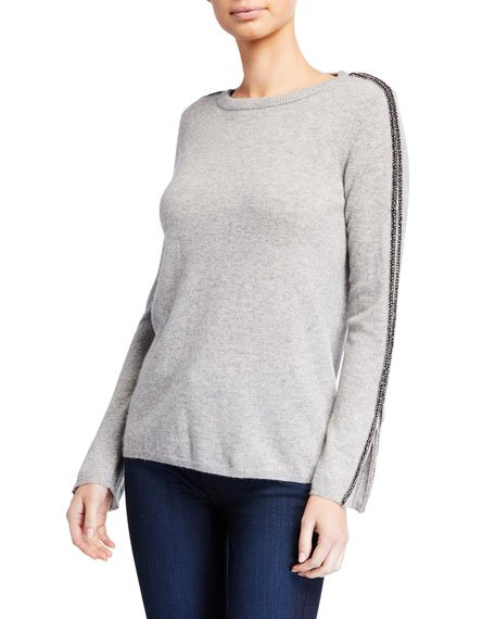 Cashmere Crewneck Zip-Cuff Sweater with Embellished Sleeves