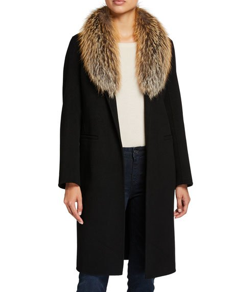 Double-Face Cashmere Coat with Fur Collar