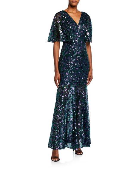 Lourdes Flutter Half-Sleeve Lace Gown