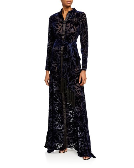 Winter-Jungle Velvet Shirt Gown