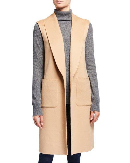 Double Face Cashmere Shawl Collar Vest