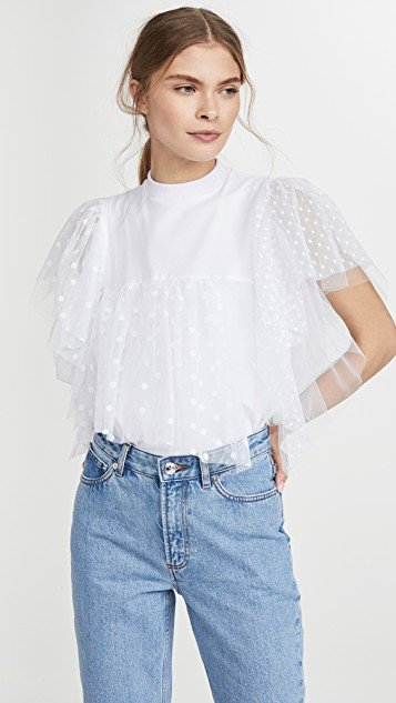 Top with Tulle Ruffles