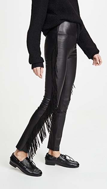 Ankle Pants with Suede Fringe