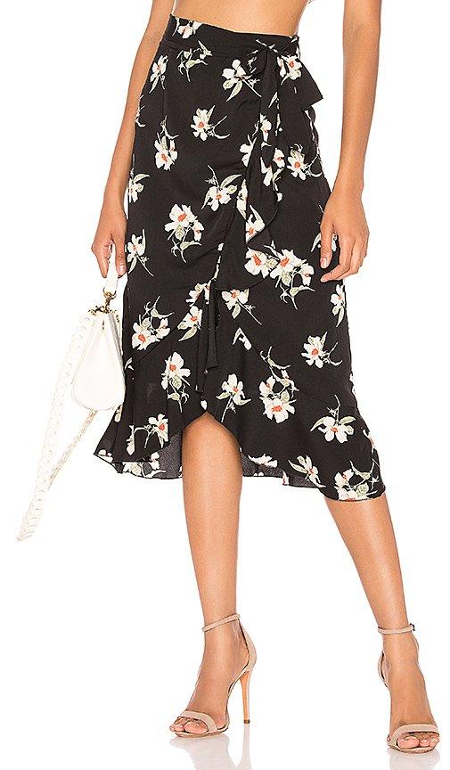 Kaycie Midi Skirt in Black Floral