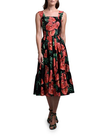 Floral Print Square-Neck Flowy Dress