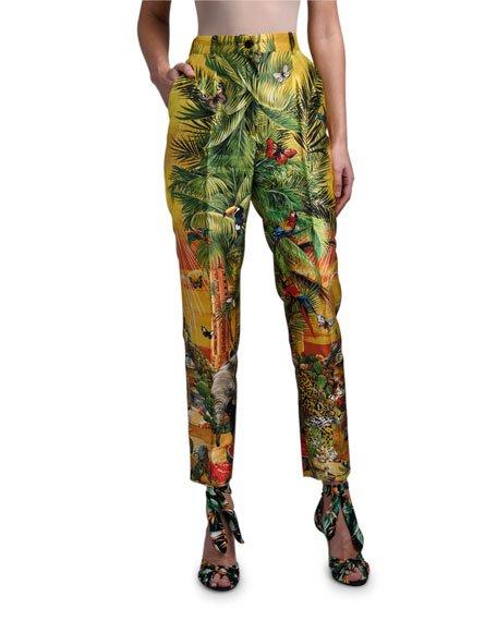 Long Jungle Print Silk Pants