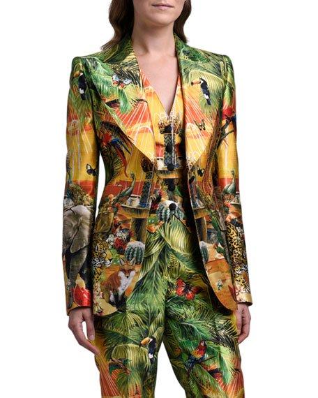 Jungle Print Silk Blazer