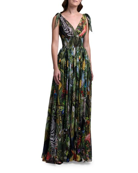 Jungle Print Silk Georgette Sleeveless Gown