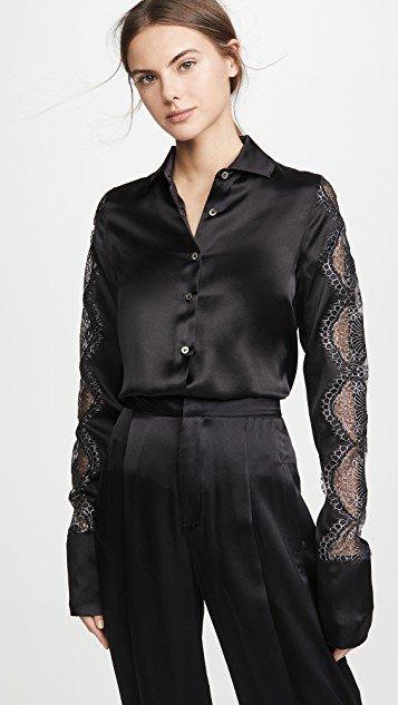 Black Silk Satin Shirt