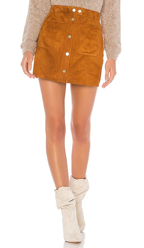 Patch Pocket Suede Skirt