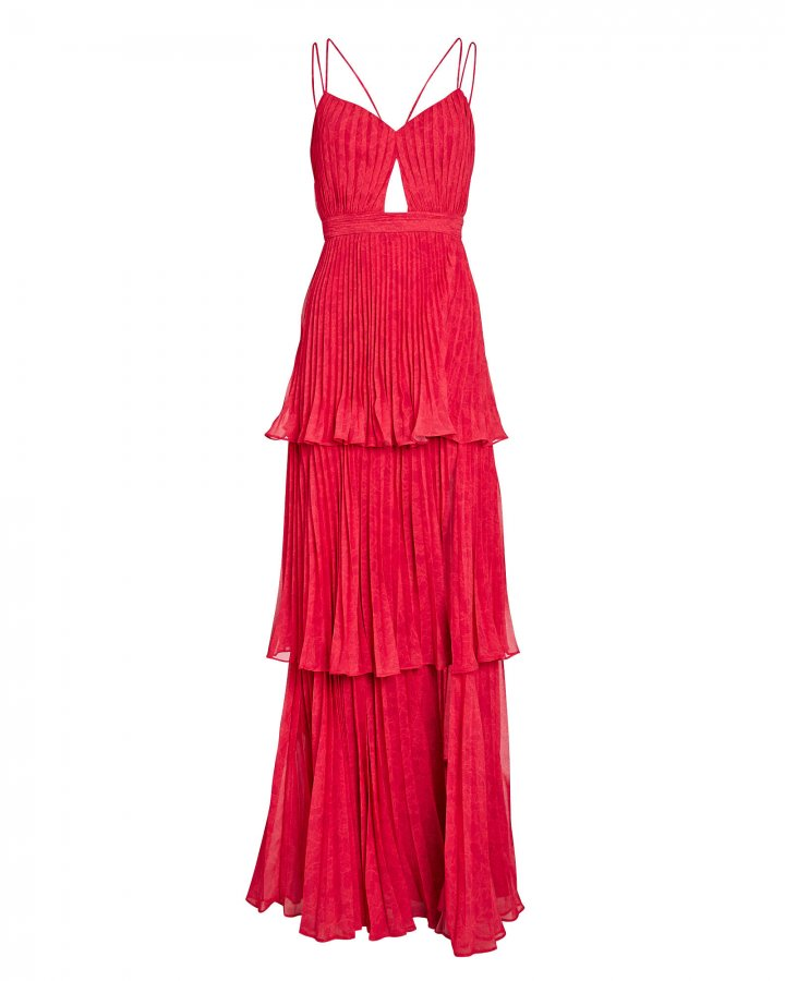 Dominique Pleated Cut-Out Dress