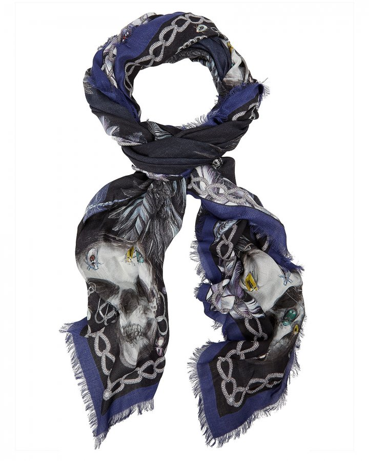 Square Raven & Skull Printed Scarf