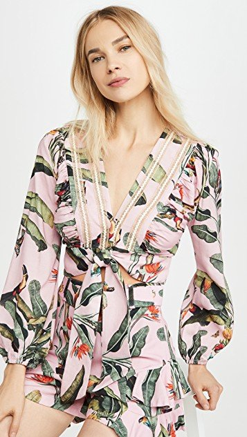 Tropical Print Cropped Top