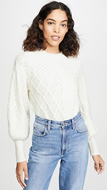 Patchwork Cable Crew Sweater