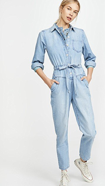 Long Sleeve Drapey Denim Jumpsuit