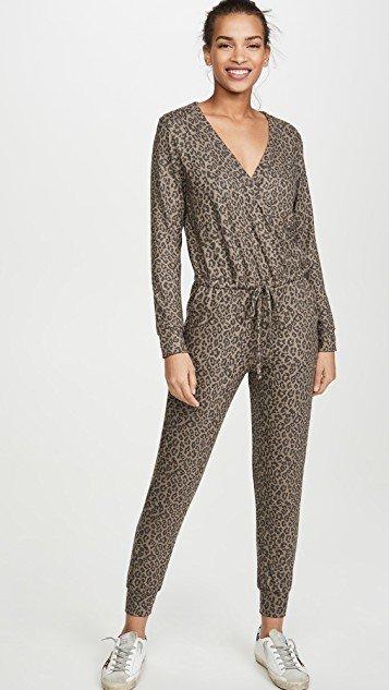 Leopard Print Wrap Jumpsuit