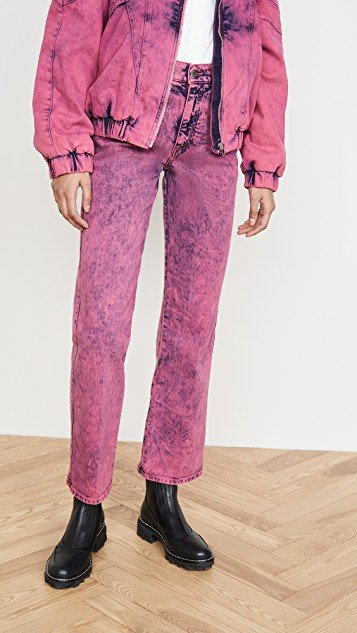 Mid-Rise Crop Neon Jeans