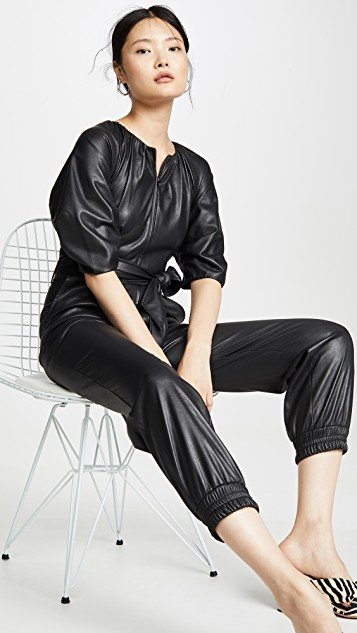Short Sleeve Vegan Leather Jumpsuit