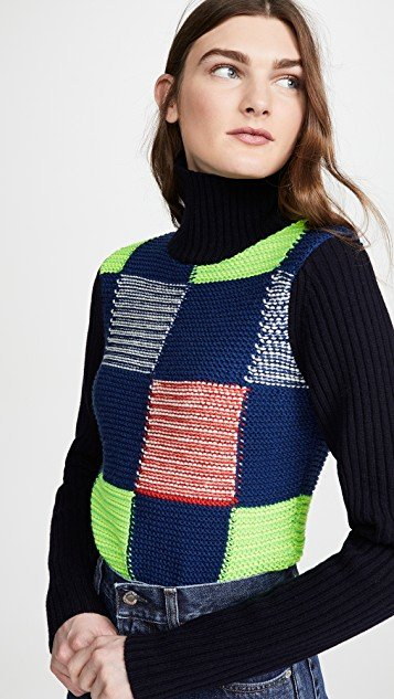 Patchwork Polo Neck Sweater