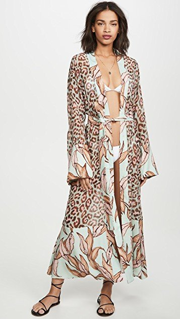 Mixed Print Sheer Robe
