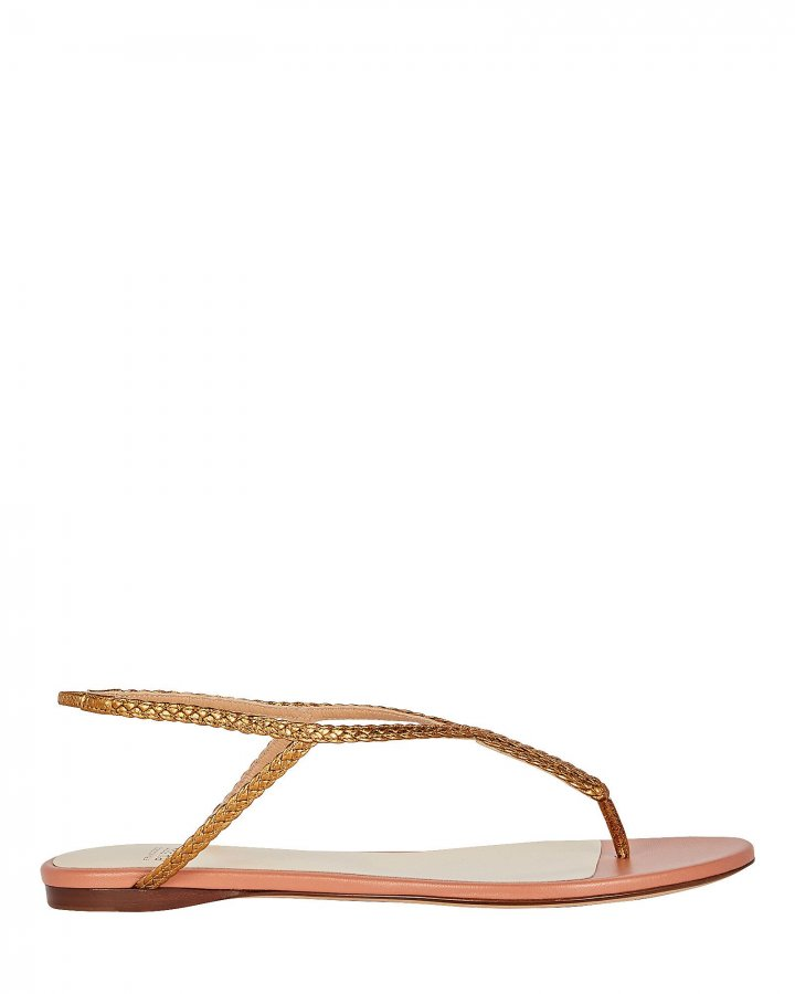 Braided T-Strap Flat Sandals