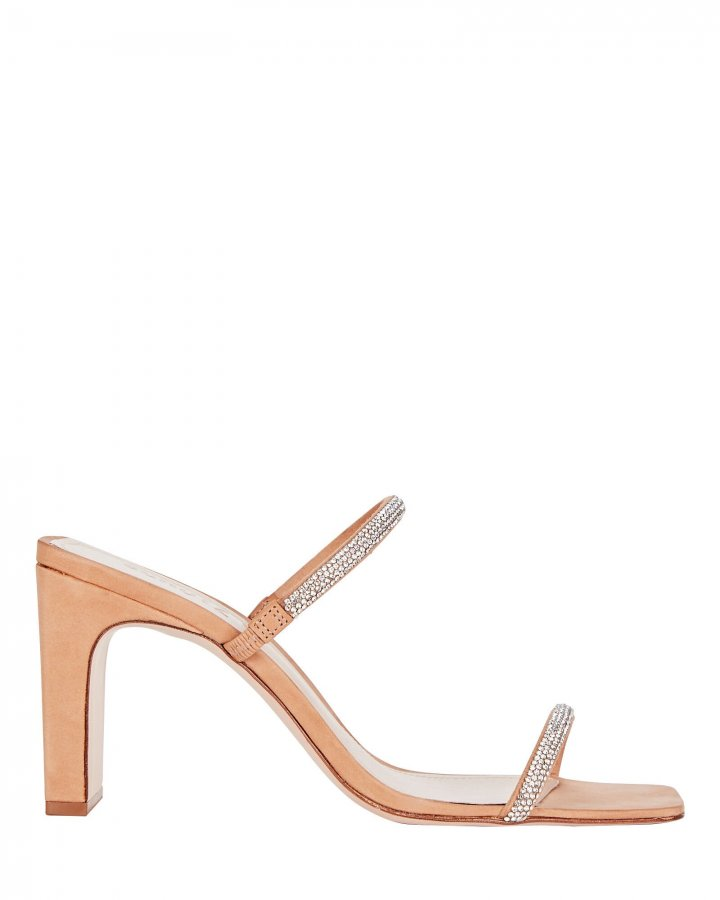 Salwa Crystal Suede Sandals