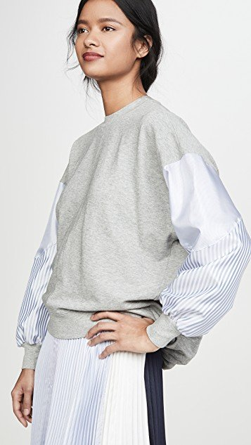Dolman Sleeve Pullover with Stripes