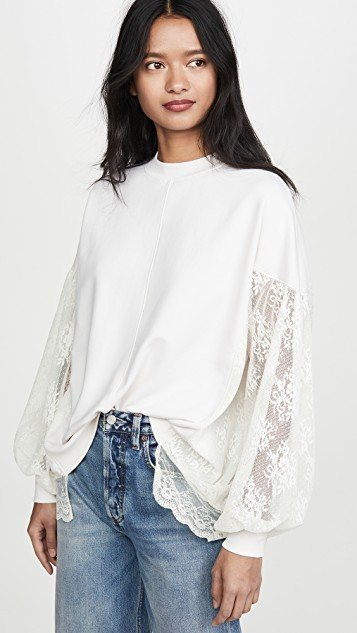 Poet\'s Pullover with Lace Sleeves