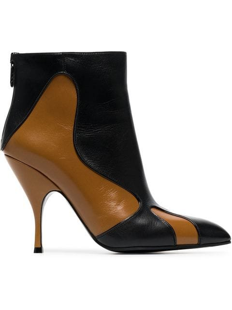 Bottega Veneta Brown And Black Curl 100 Leather Boots - Farfetch
