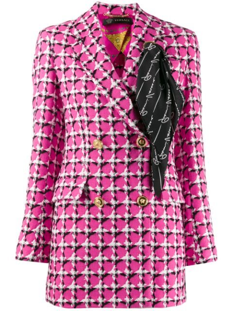 Versace Scarf Detail Checked Blazer - Farfetch