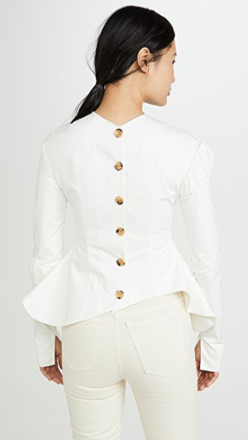 Peplum Top With Gathered Details On The Sleeves