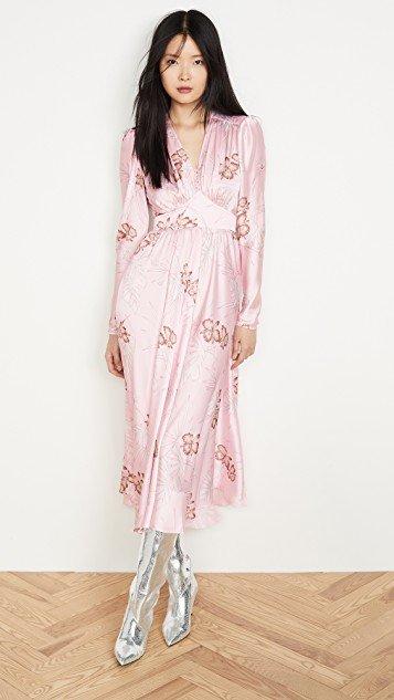 Long Sleeve Hawaii Dress with Puff Sleeves