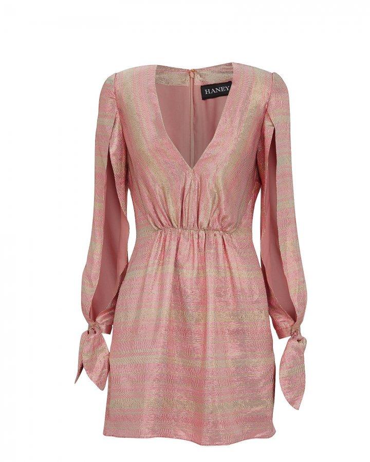 Joplin Gathered Metallic Silk Mini Dress