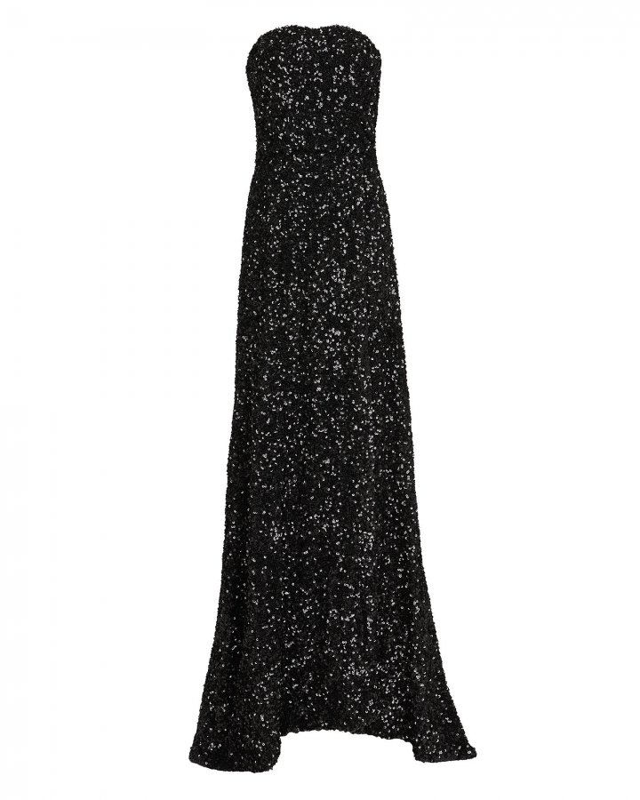 Sequin-Embellished Strapless Gown