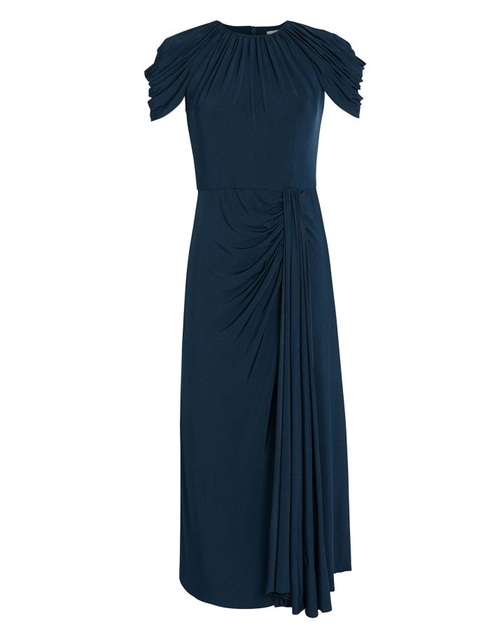 Jersey Cap Sleeve Pleated Dress