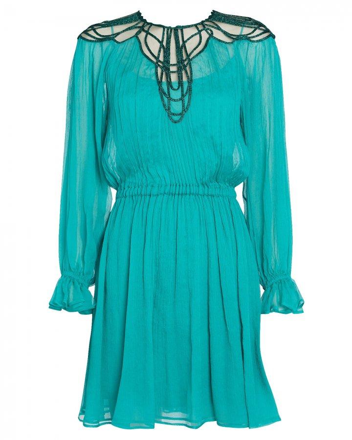 Embroidered Crepe Chiffon Mini Dress