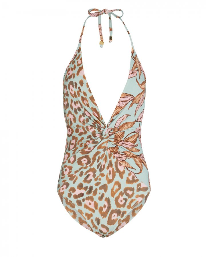Mixed Print One-Piece Swimsuit