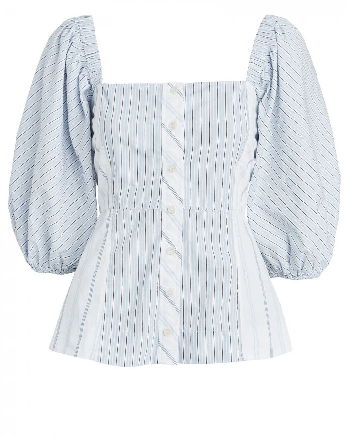 Striped Puff Sleeve Poplin Top