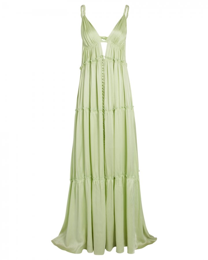 Jade Tiered Charmeuse Gown