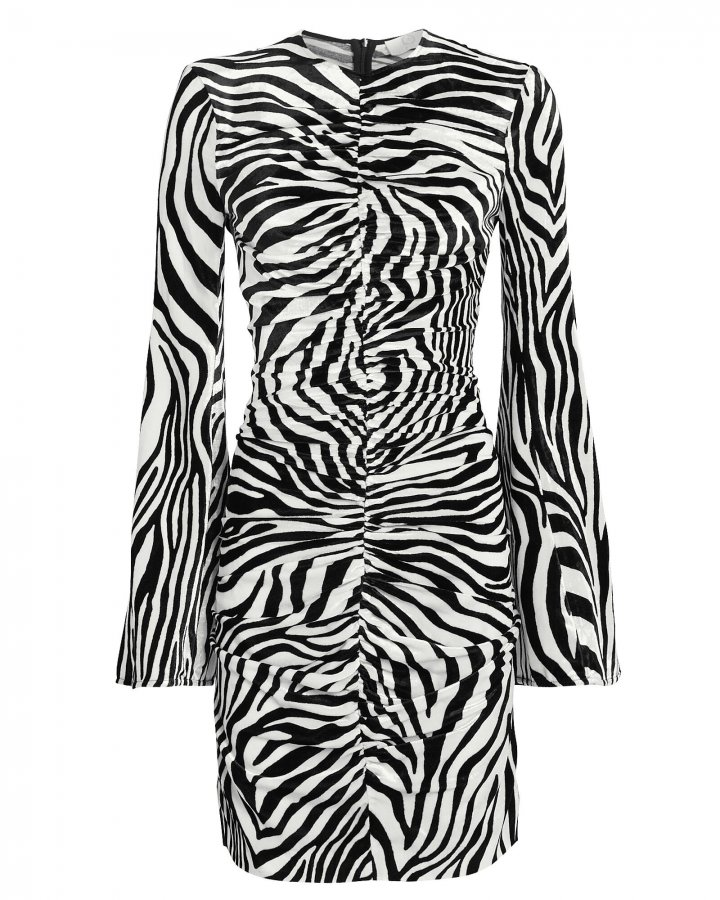 Velvet Ruched Zebra-Print Dress
