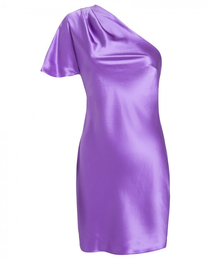 Satin Pleated One-Shoulder Mini Dress