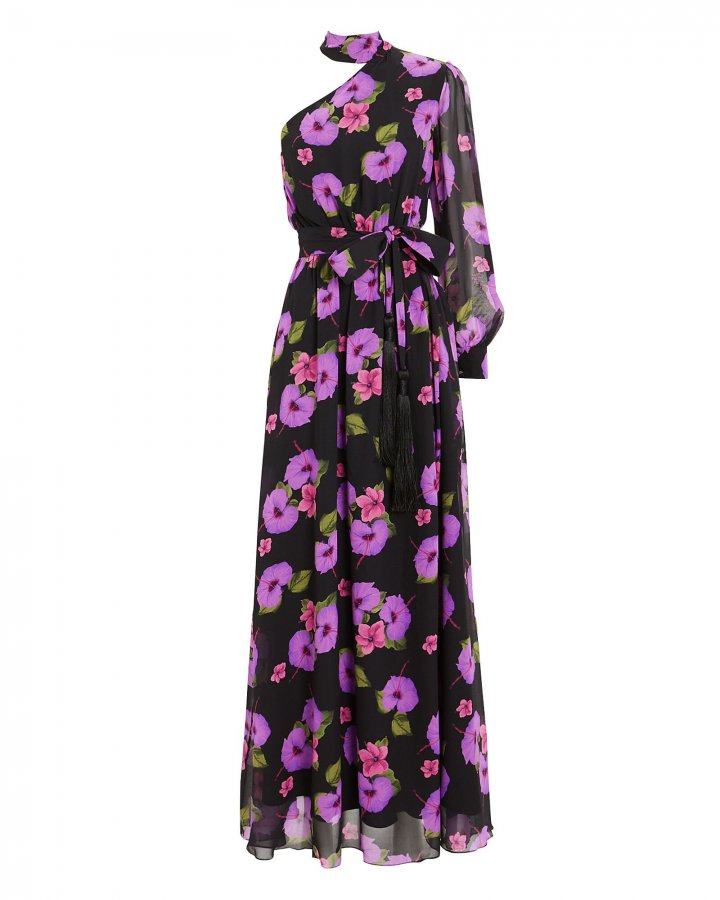 Isabeau One Shoulder Hibiscus Gown